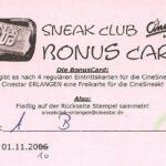 Erlangen Sneak Club Bonus Card