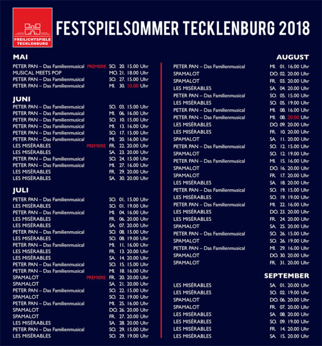 Spielplan 2018 Tecklenburg